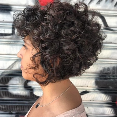 Inverted Black Bob for Curly Hair